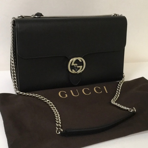 e914e9369e69 Gucci Bags | Interlocking Shoulder Bag 387604 Ap00n 1000 | Poshmark